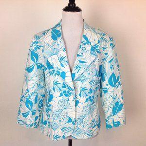 Chadwicks Linen Blend Blazer Womens 12 Tropical
